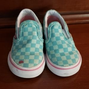 Aqua check toddler Van's size 4.5